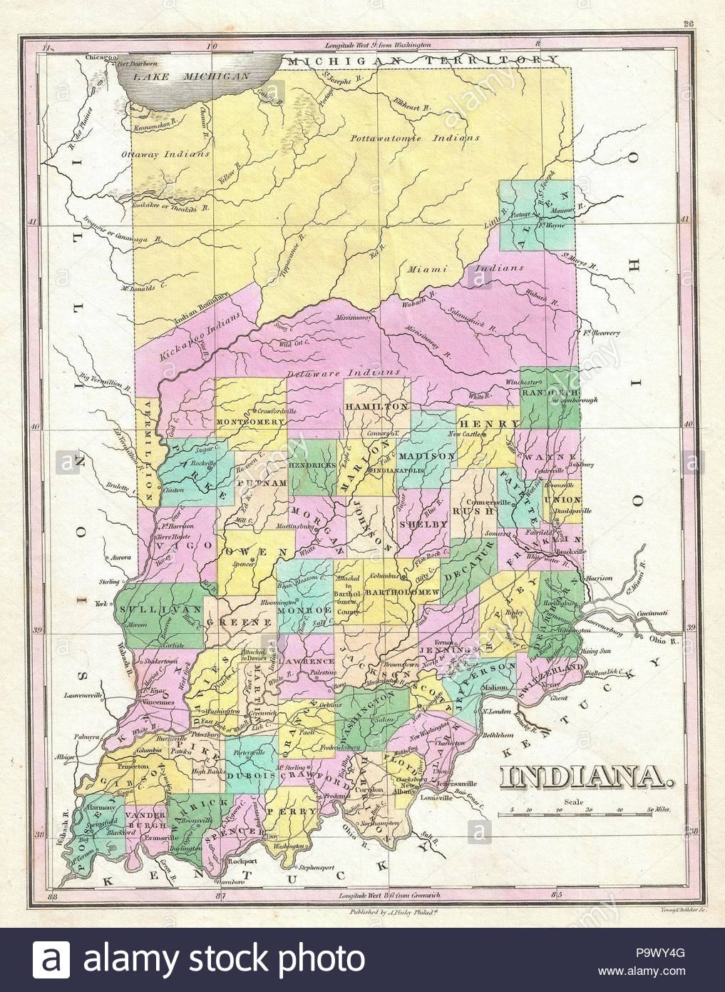 1827, Finley Map of Indiana, Anthony Finley mapmaker of the United ...