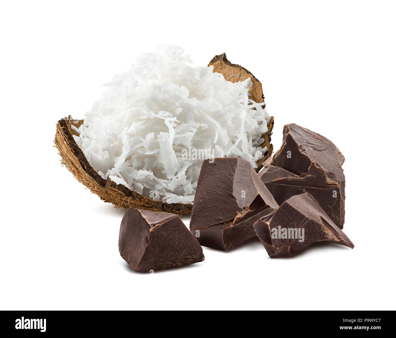 Shredded coconut and craft broken chocolate isolated on white background - Stock Image
