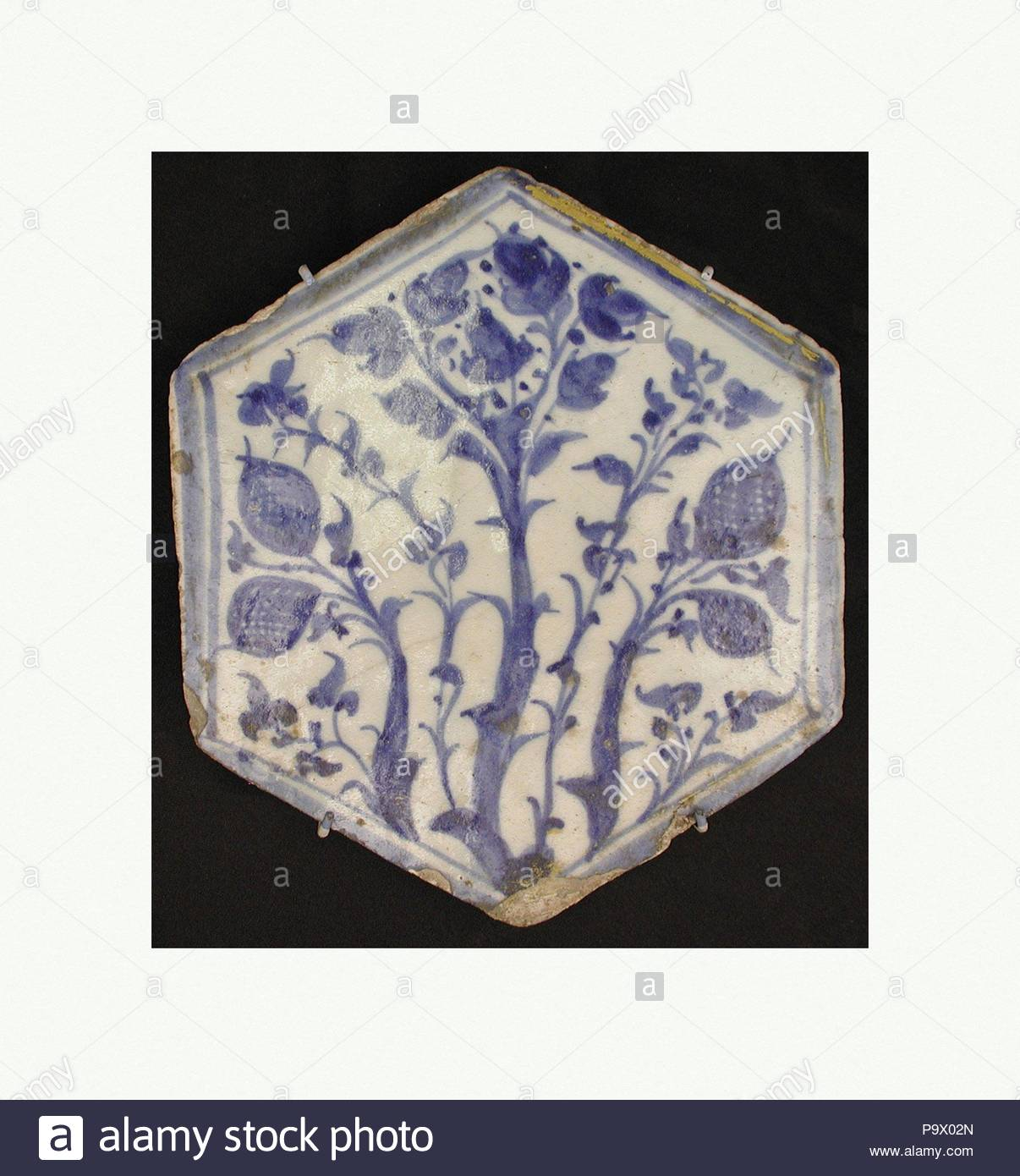 Hexagonal Tile Second Half 15th Century Attributed To Egypt