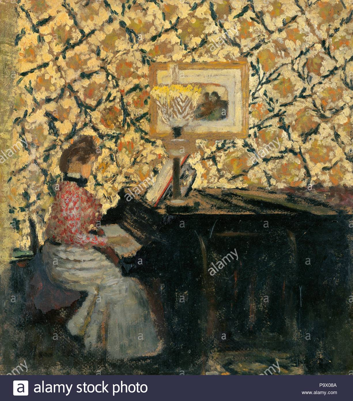 Misia at the Piano, 1895 or early 1896, Oil on cardboard, 10 1/4 x 9 13/16 in. (26 x 25 cm), Paintings, Édouard Vuillard (French, Cuiseaux 1868–1940 La Baule). - Stock Image