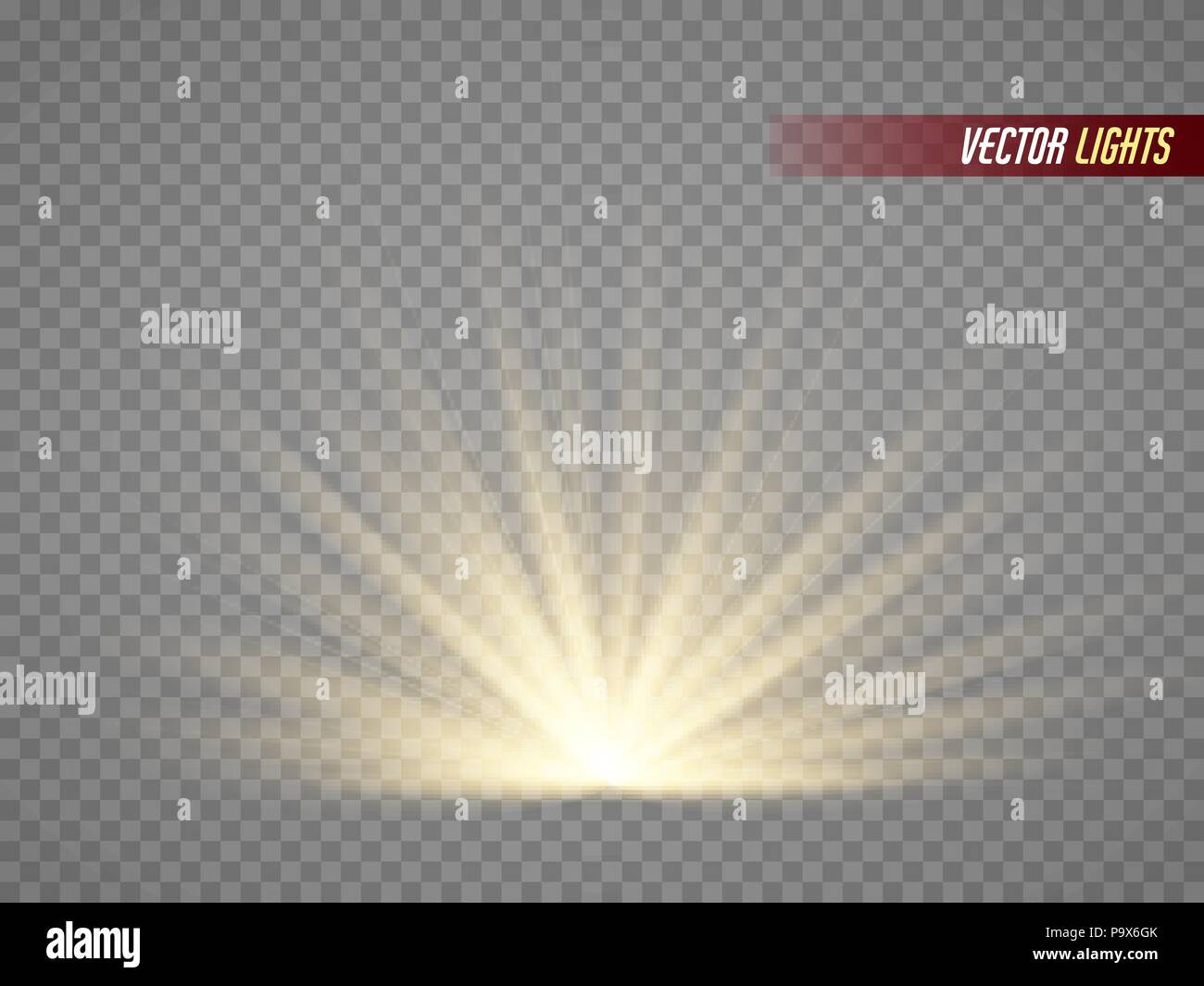 rays of light  warm light effect  sun beams isolated on transparent background stock vector art