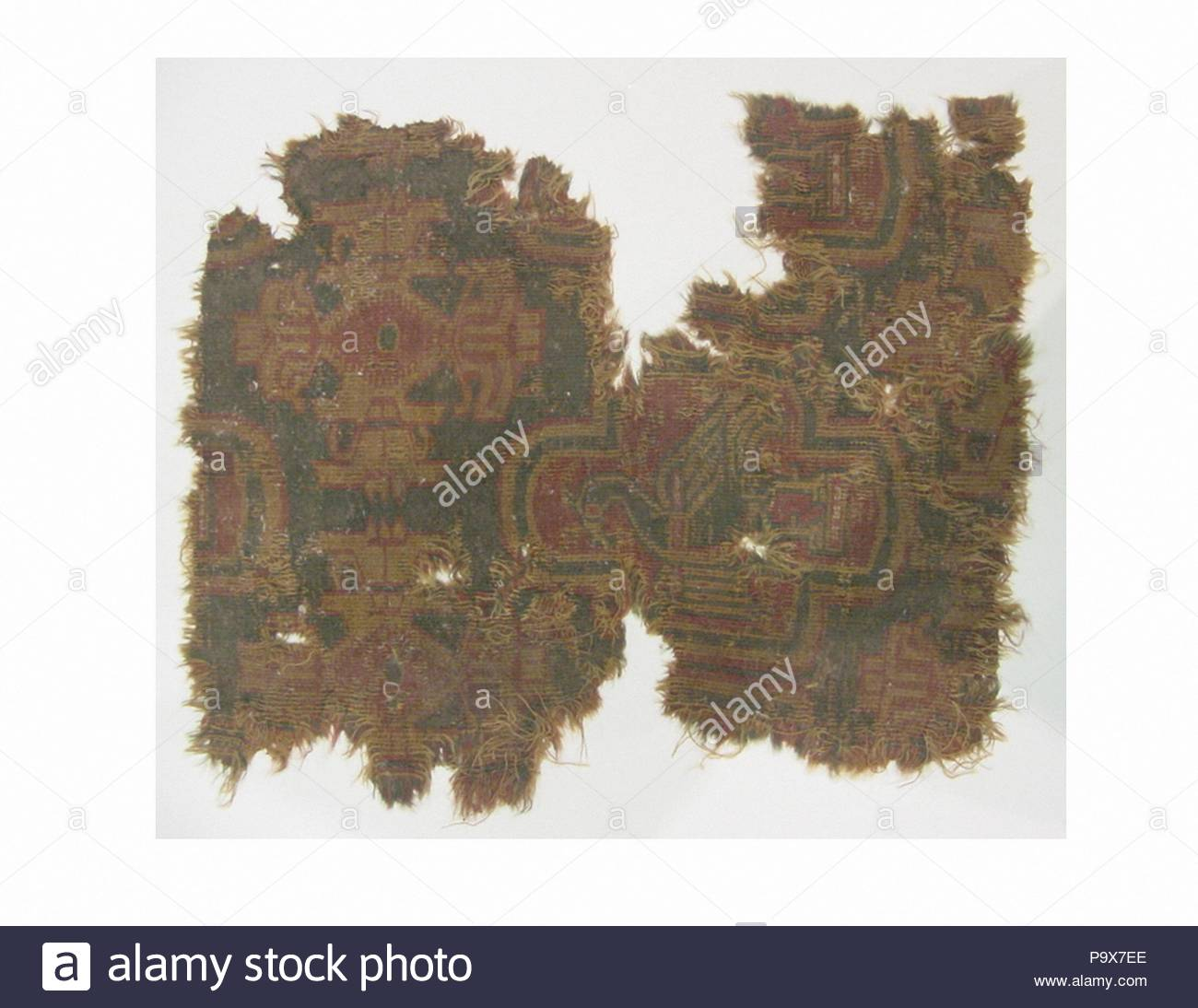 Fragment, 4th–6th century or 9th century, Attributed to probably Egypt, Wool, cotton; samite, L. 15 in. (38.1 cm), Textiles. - Stock Image