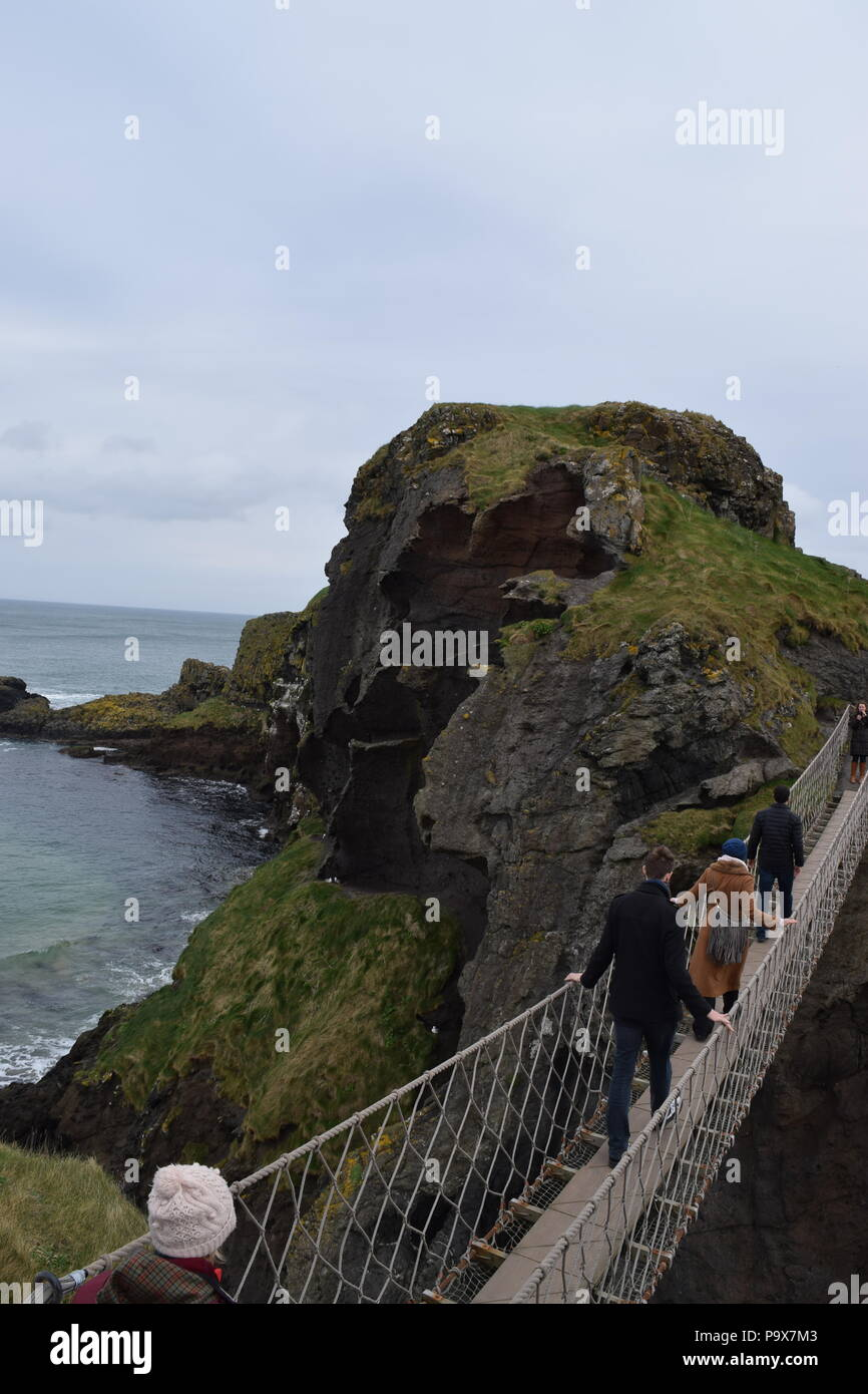 carrick-a-rede rope bridge - Stock Image
