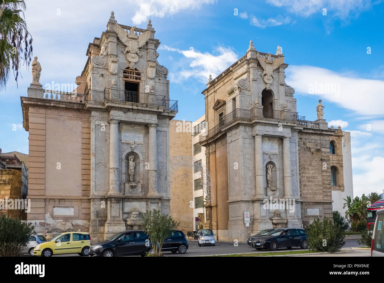 Porta Felice, a city gate in Palermo, Sicily, Italy, Europe - Stock Image