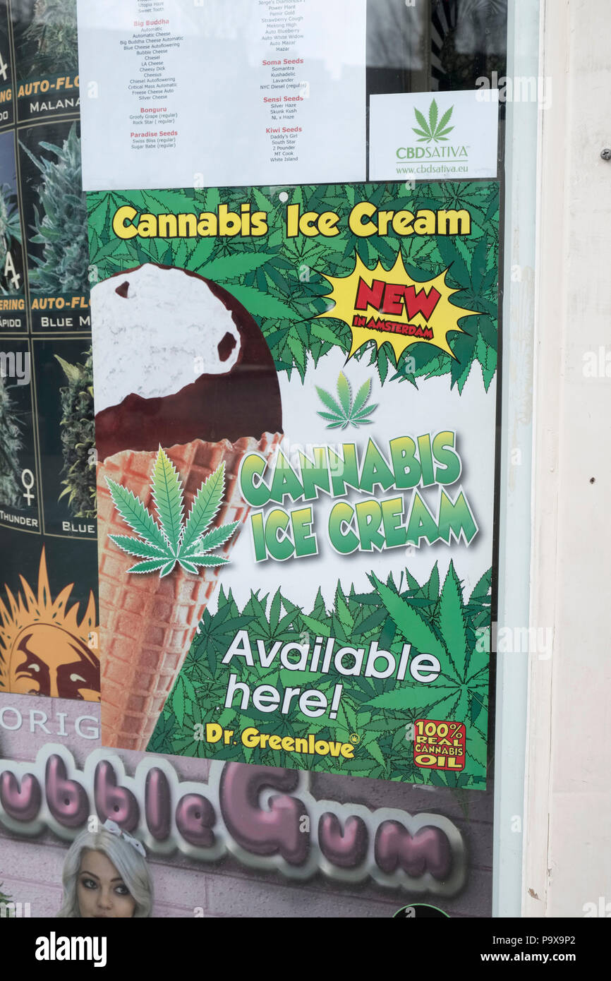 Cannabis Ice Cream made from Cannabis oil poster in the window of a Hemp store drugs shop in Amsterdam, Netherlands, Holland, Europe - Stock Image