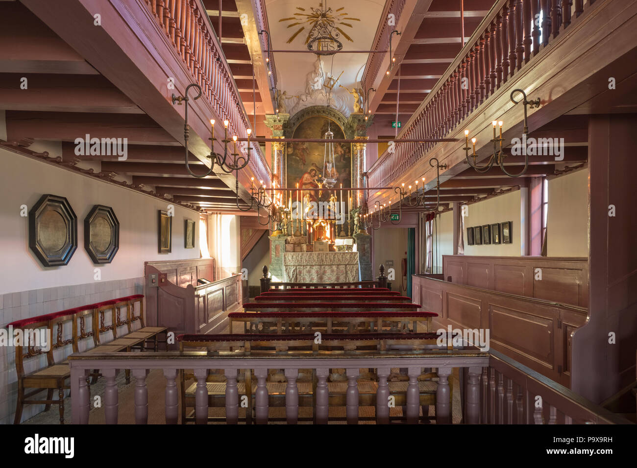 Ons Lieve Heer op Solder, Our Lord in the Attic, a secret house Church spanning three townhouses in Amsterdam, Netherlands, Holland, Europe - Stock Image