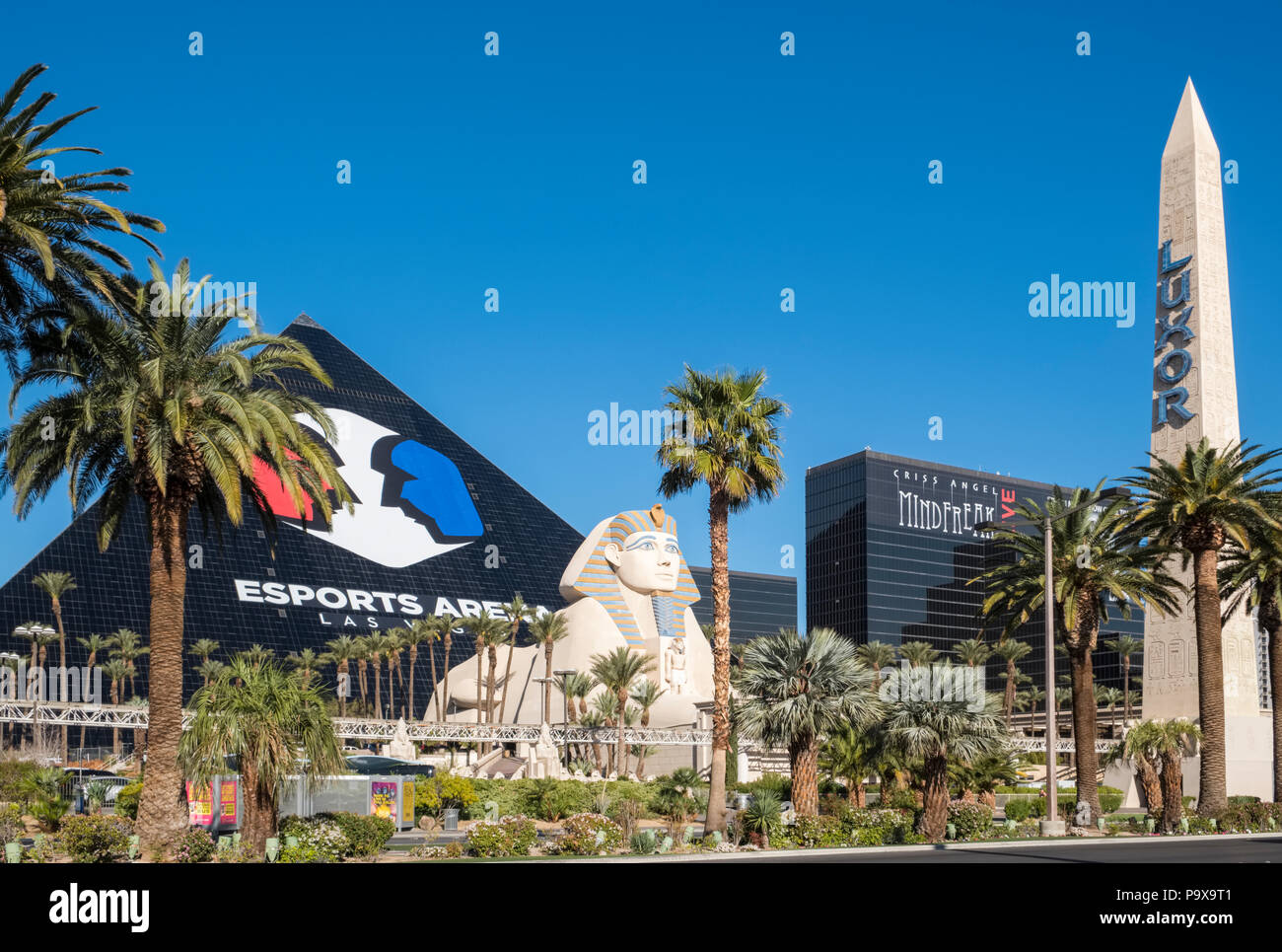 Esports Arena and the Luxor Hotel and Casino, on the Las Vegas Strip, Las Vegas, Nevada, USA - Stock Image