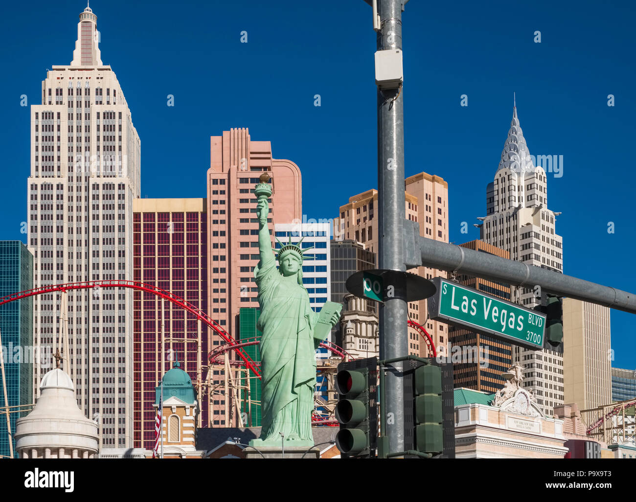 Las Vegas Strip, the New York New York Hotel and Casino on the Las Vegas Boulevard, Nevada, USA - Stock Image