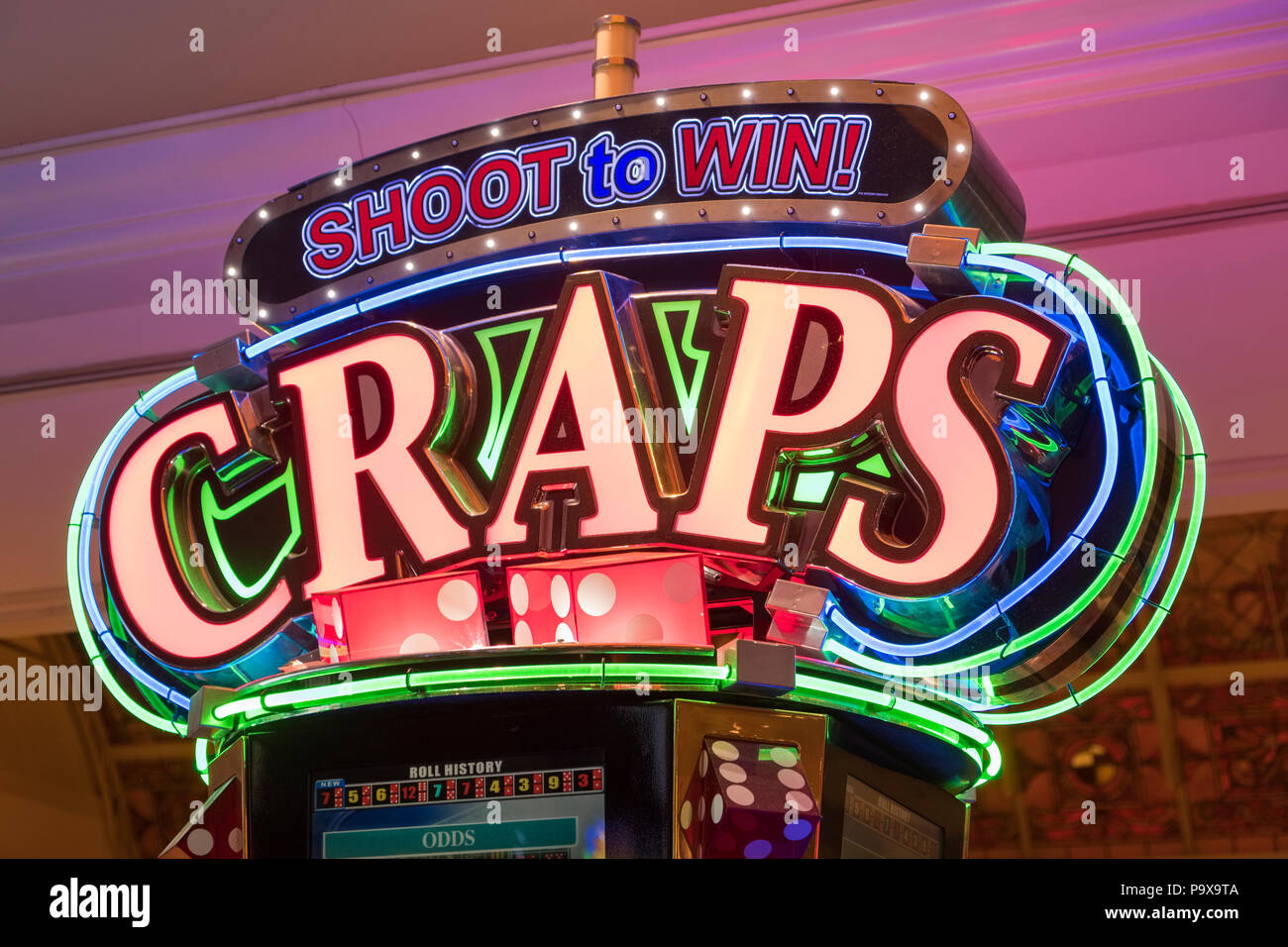 Craps machine neon sign in a Las Vegas casino, Nevada, USA - Stock Image