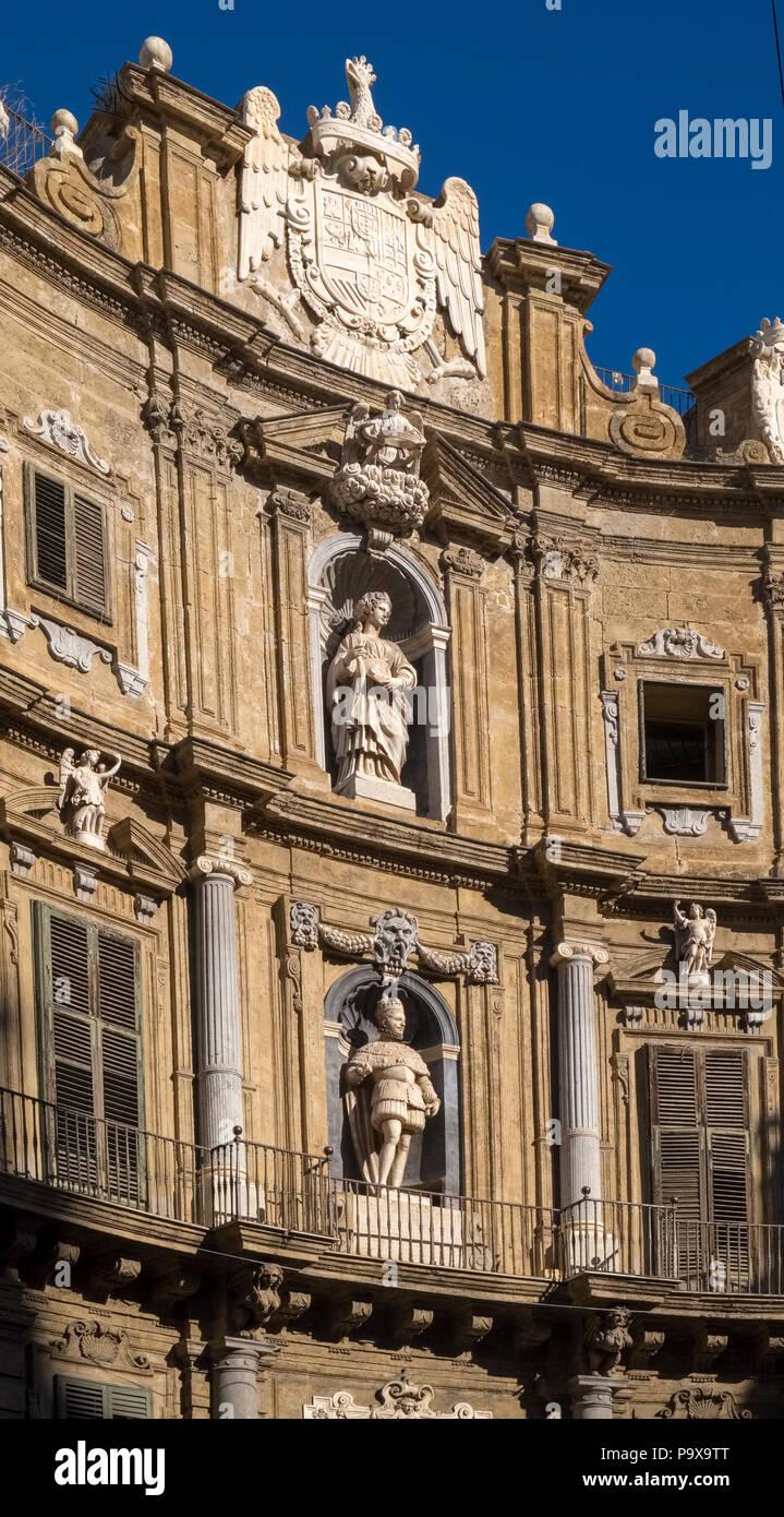 Quattro Canti, Piazza Vigliena, Four Corners, North view of Castellamare, Palermo, Sicily, Italy, Europe - Stock Image
