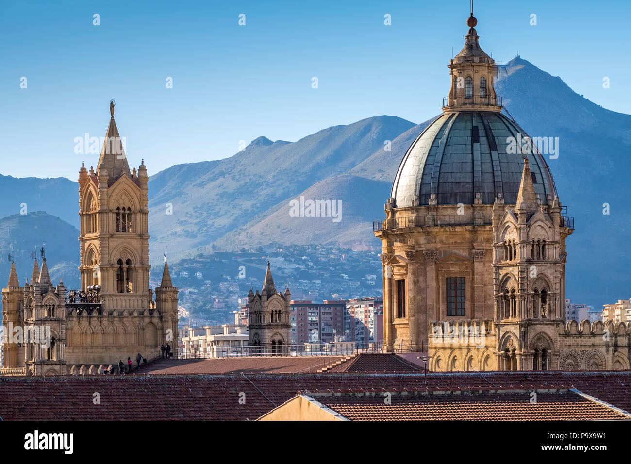 Sicily, Italy - Skyline of Palermo, Sicily, Europe, showing the dome of Palermo cathedral and architecture - Stock Image