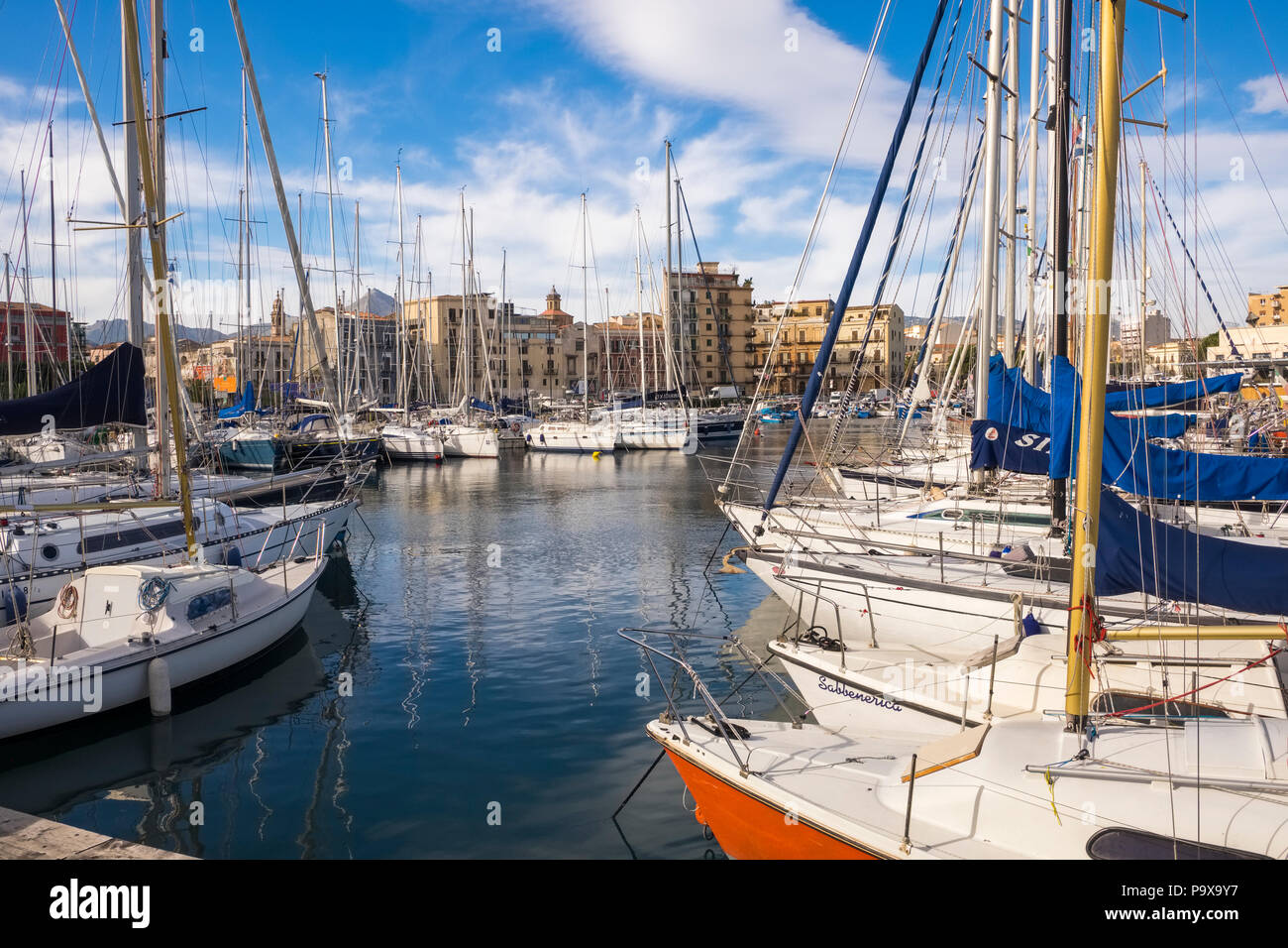 Boats and yachts at Palermo Harbour in Sicily, Italy, Europe - Stock Image
