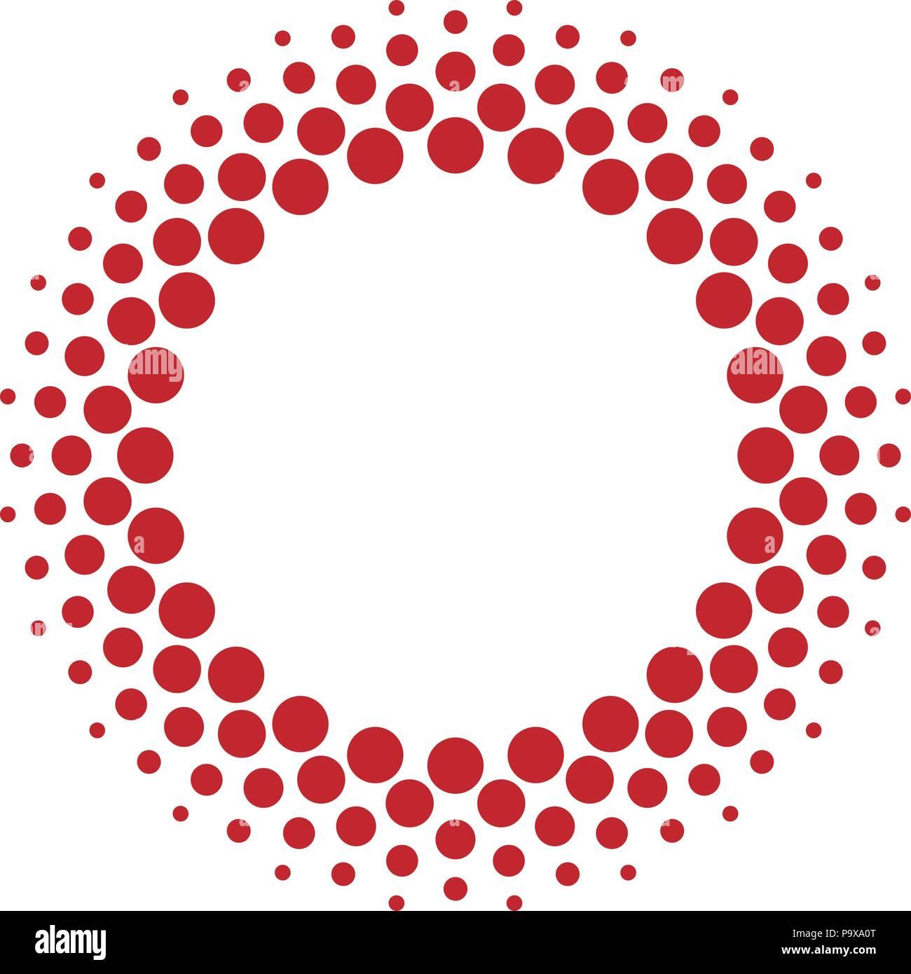 Halftone vector circle frame dots - Stock Image