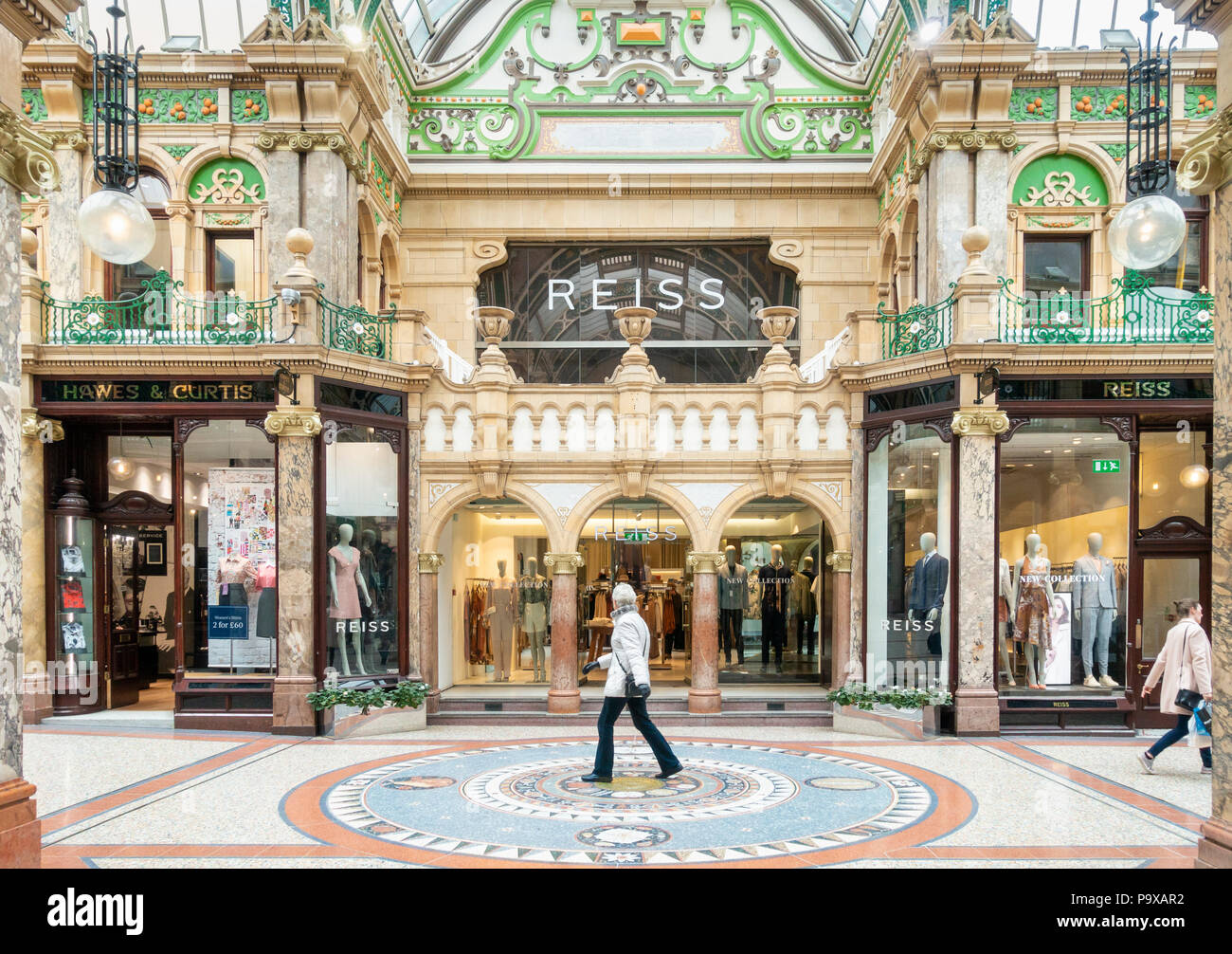 Shopping in Victoria Quarter, County Arcade in Leeds city centre. Leeds, Yorkshire, England. UK - Stock Image