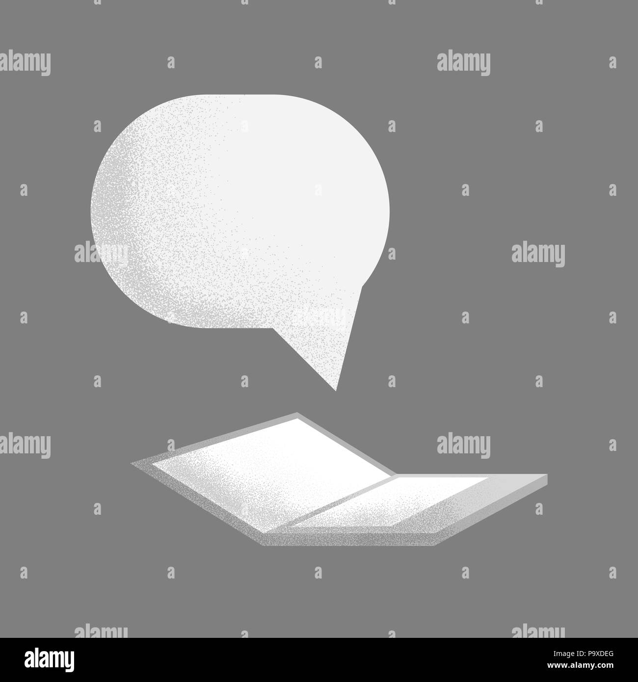 Laptop with speech bubbles isolated on a gray background - Stock Image