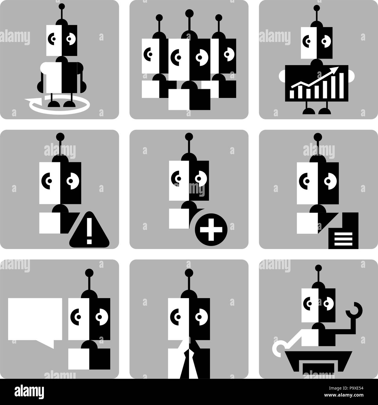 Human resources and management icons set with robots. Stock Vector