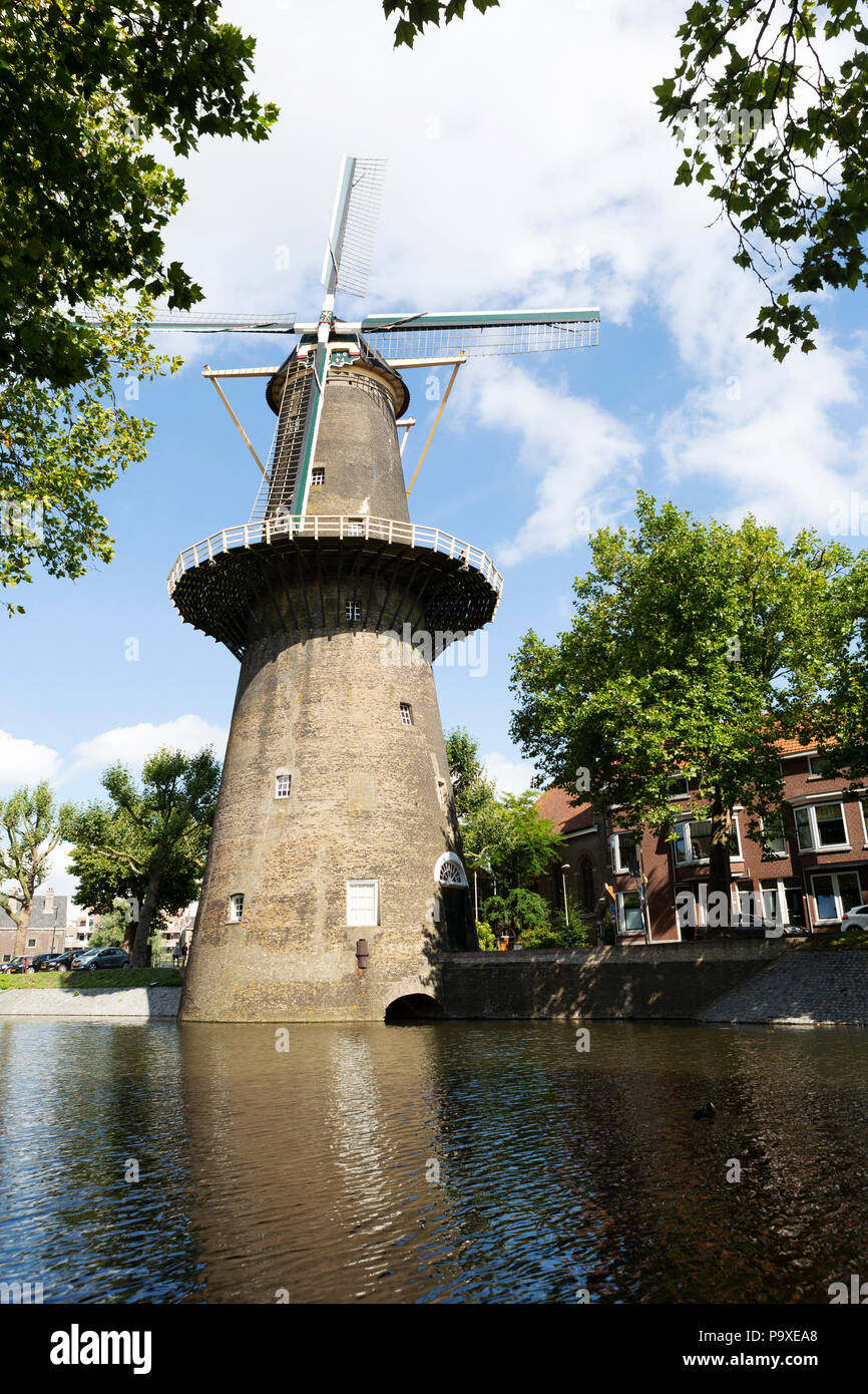 The Walvisch windmill in Schiedam, the Netherlands. The Walvissch is a windmill that dates from 1794. Stock Photo