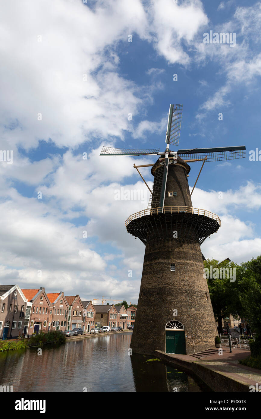 De Noord, a windmill  in Schiedam, the Netherlands. Schiedam has the world's tallest traditional windmills. - Stock Image