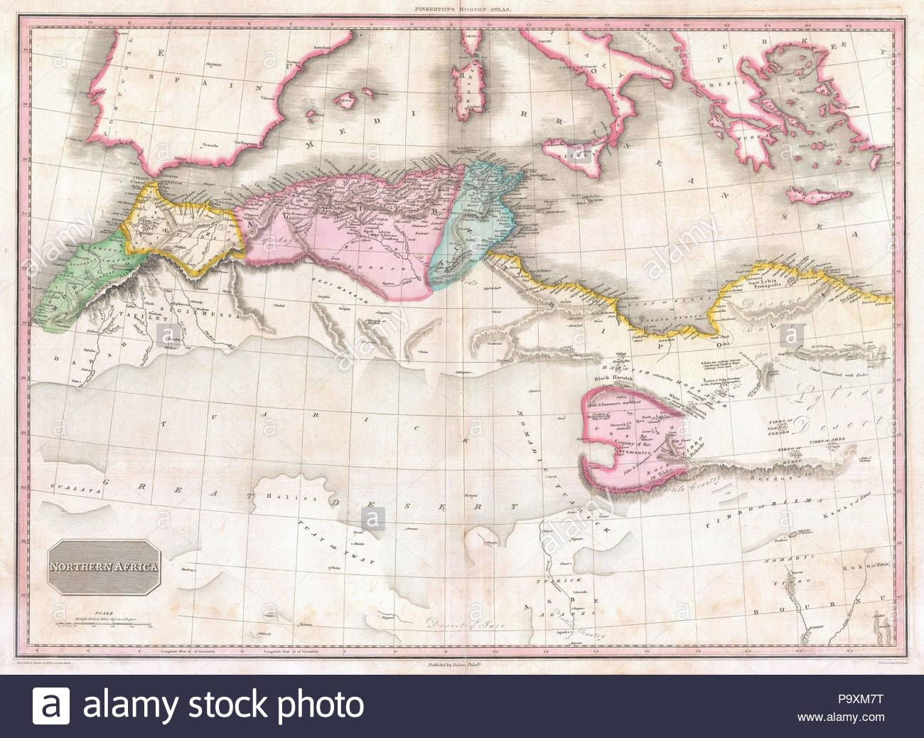1818, Pinkerton Map of Northern Africa and the Mediterranean, John ...