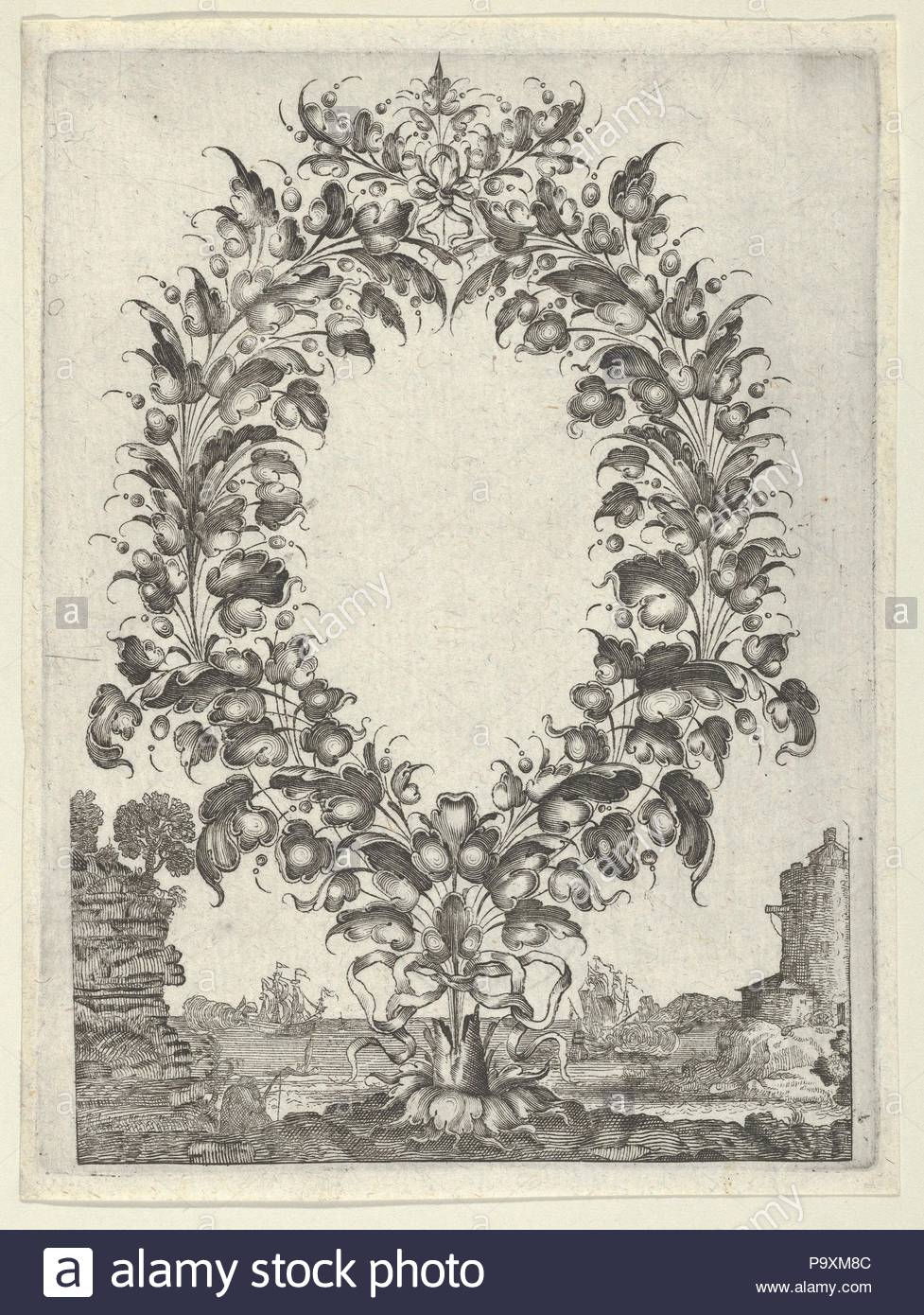 Goldsmith's Bouquet, from Newes Lauberbuechlein, 1628–66, Engraving, Sheet: 6 × 4 1/2 in. (15.2 × 11.4 cm), Peter Aubry II (German, 1610–1666), After Gédéon Légaré (French, 1615–1676) (?), Decorative floral arrangement in shape of a wreath emerging from a tree trunk at center. At right a lighthouse, with ships in the water beyond. At bottom left, the figure of a fisher. From a set of seven plates by Peter Aubry II after 'Livre de Feuilles d'Orfevrerie,' designed by Gédéon Légaré and engraved by P. - Stock Image