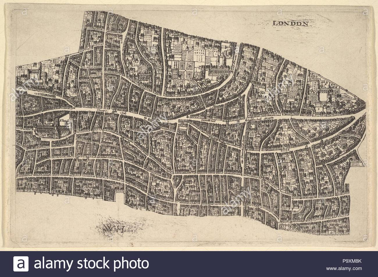 Great Fire Of London Map.London Before The Great Fire 1666 77 Etching Second State Of Two