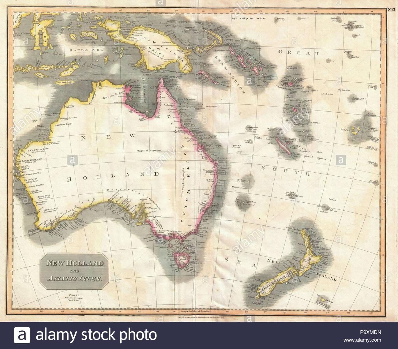 1814, Thomson Map of Australia, New Zealand and New Guinea, John ...
