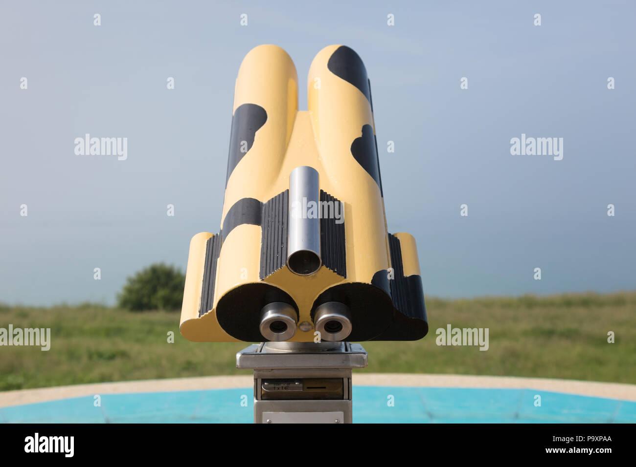 Pay binoculars near the beach, Normandy, France - Stock Image