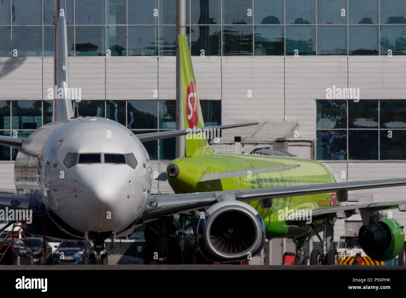 Civil jet airplanes at Domodedovo airport, Moscow Region, Russia. - Stock Image