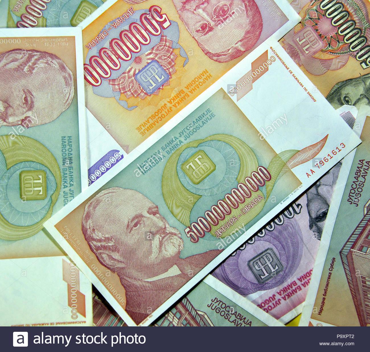Five Hundred Billion Dinars Former Yugoslavia Banknote While Hyperinflation During 1993 Stock Image
