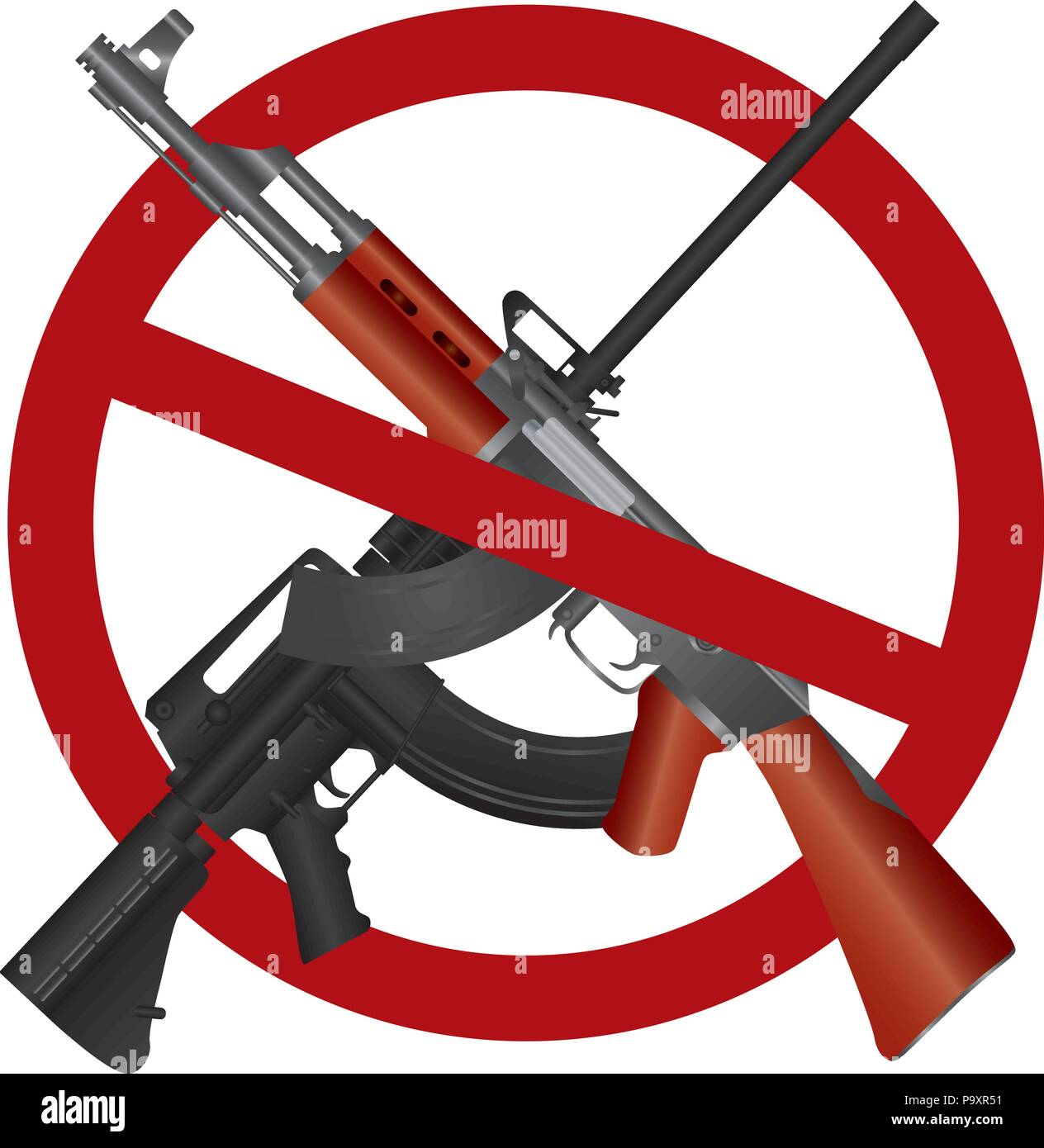 Assault Rifle AR 15  AK 47 Gun Ban Symbol Isolated on White Background Illustration - Stock Image