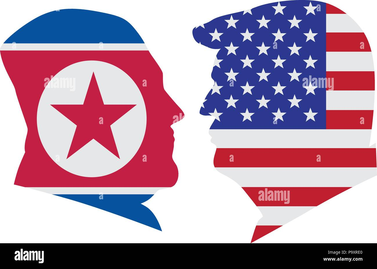 MAY 14, 2018: US President Donald Trump and Kim Jong Un silhouettes with United States America  and North Korea Flags Illustration. Upcoming Summit Ju Stock Vector