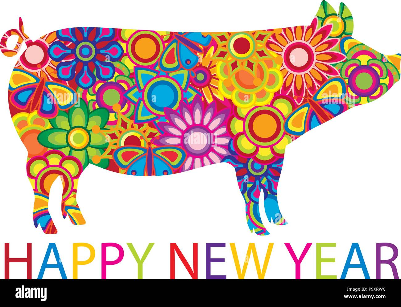 Chinese Lunar New Year 2019 Pig with spring flowers floral pattern