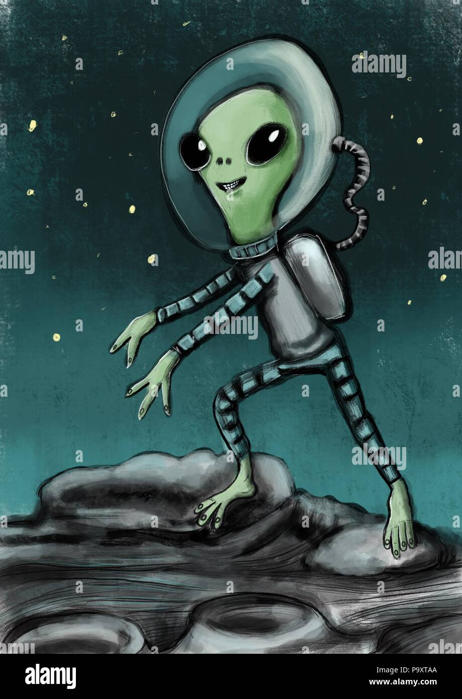 Alien creature illustration - Stock Image