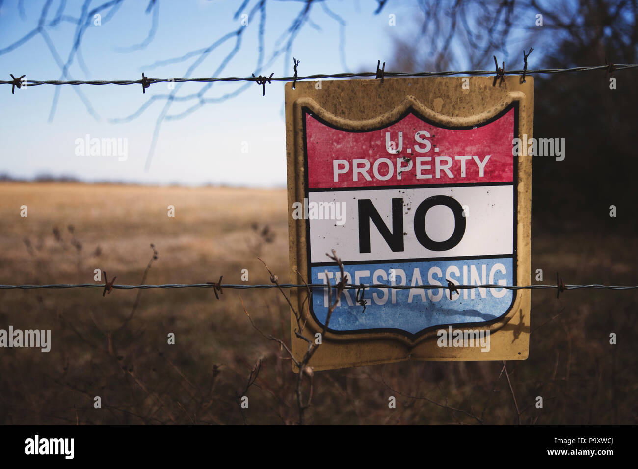 caution sign for trespassers stock photo 212647026 alamy
