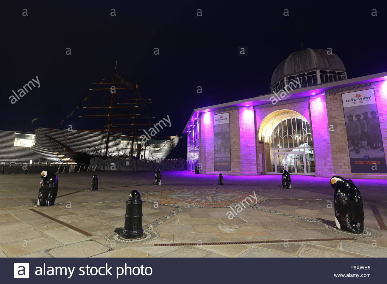 V&A Design Museum and RRS Discovery by night Dundee Scotland  July 2018 - Stock Image