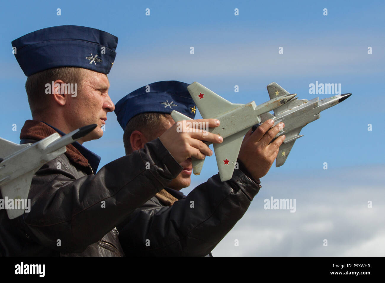 Military pilots of Russian Air Force perform ground simulation