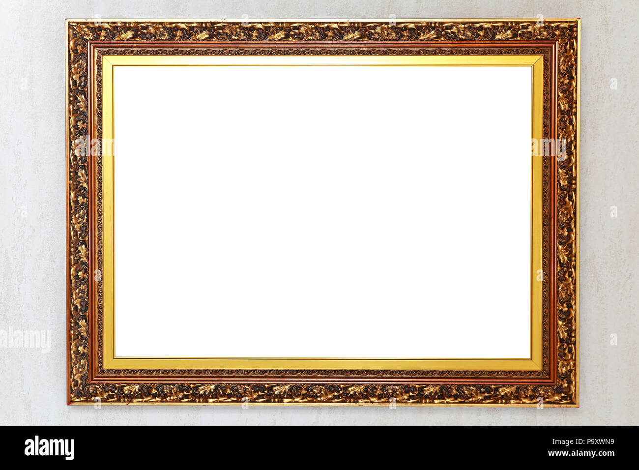 Rustic gold engraved picture frame with empty space Stock Photo ...