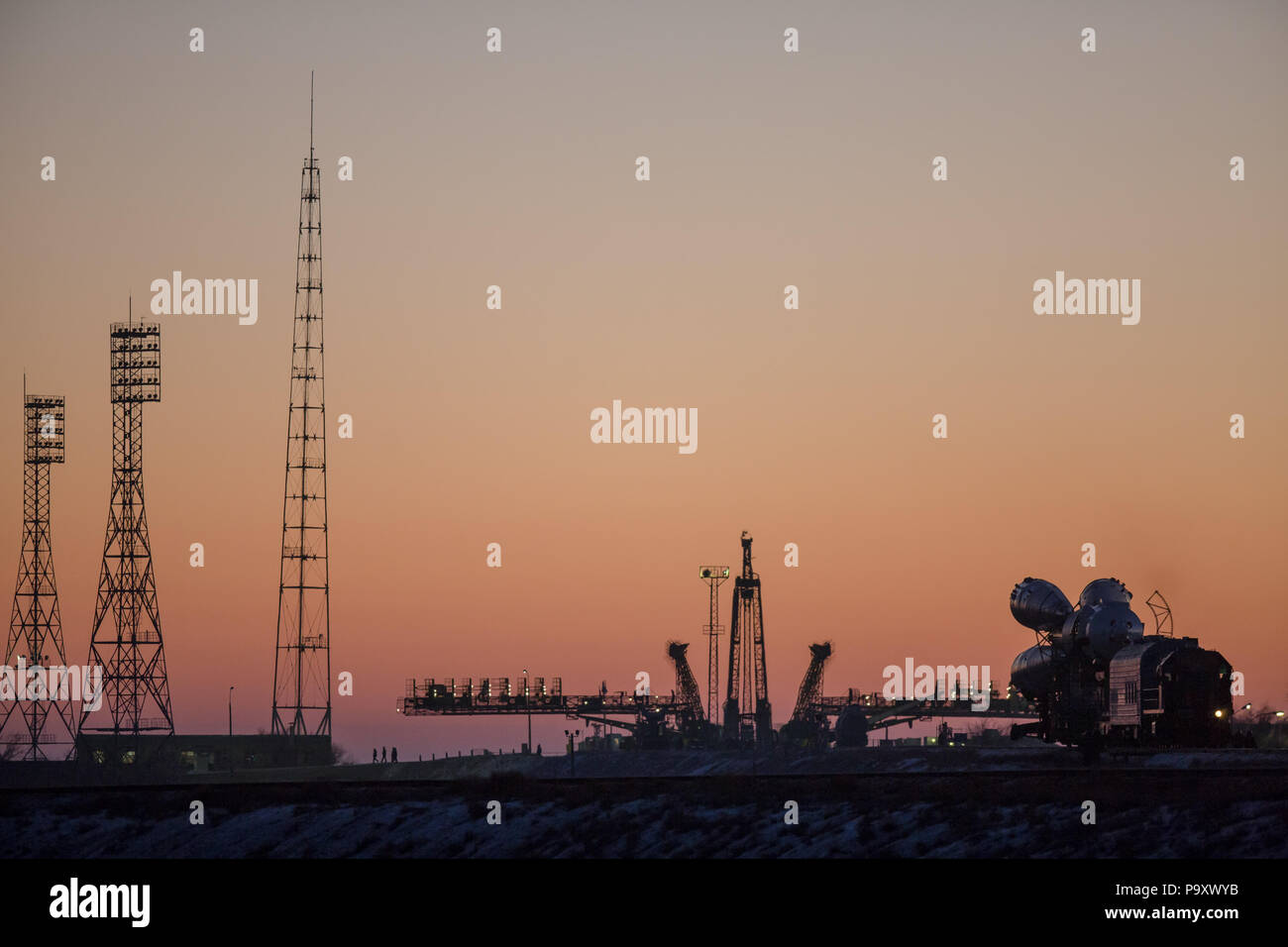 Sunday, December, 13. The Soyuz TMA-19M spaceship transported to 'Gagarinsky' launchpad of Baikonur space launch complex, Kazakhstan. Soyuz TMA-19M wi - Stock Image