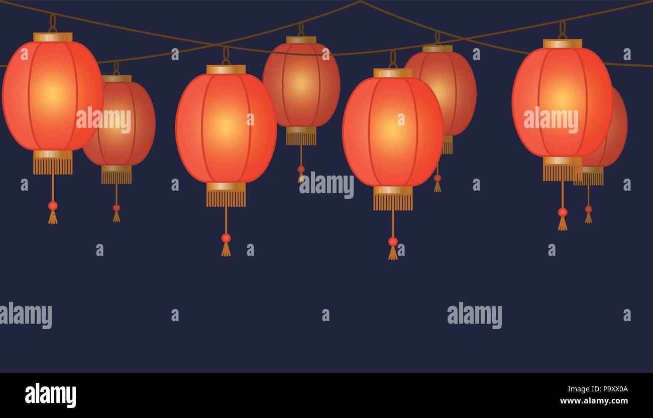Garland With Chinese Lantern Chain Red Asian Traditional Paper Lamps On Dark Background Fairy Lights Footer And Banner For Decoration