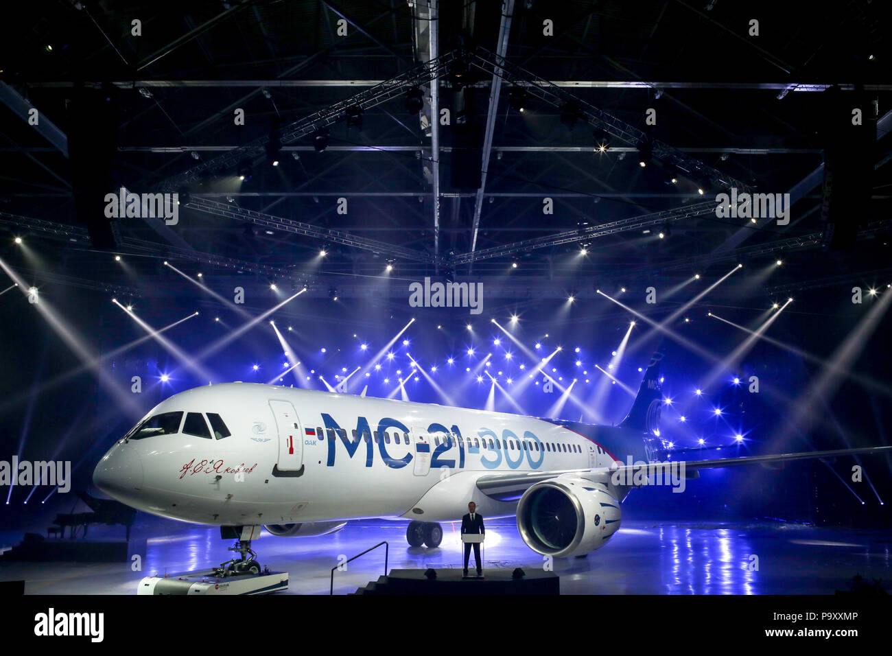 8th June 2016. The first built Irkut MC-21-300 civil jet airplane rolled out at Irkutsk Aviation Plant, Russia. - Stock Image