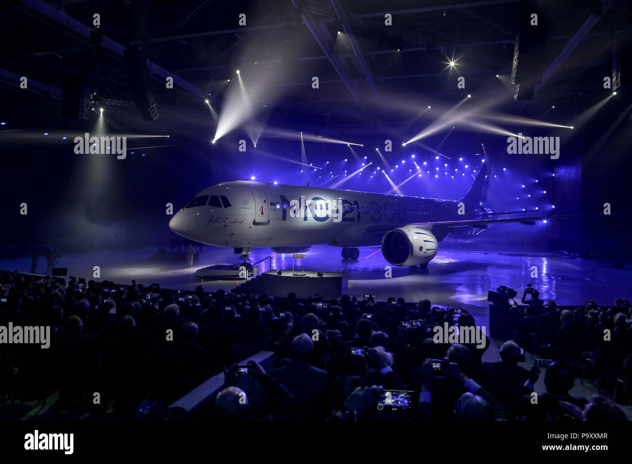 8th June 2016. The first assembled Irkut MC-21-300 civil jet airplane rolled out at Irkutsk Aviation Plant, Russia. - Stock Image