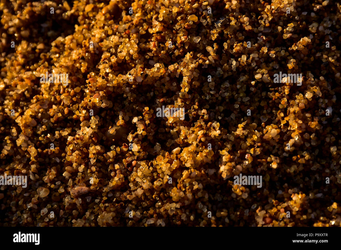 Sand on the beach showing its texture and surface and colors during sunset. Stock Photo