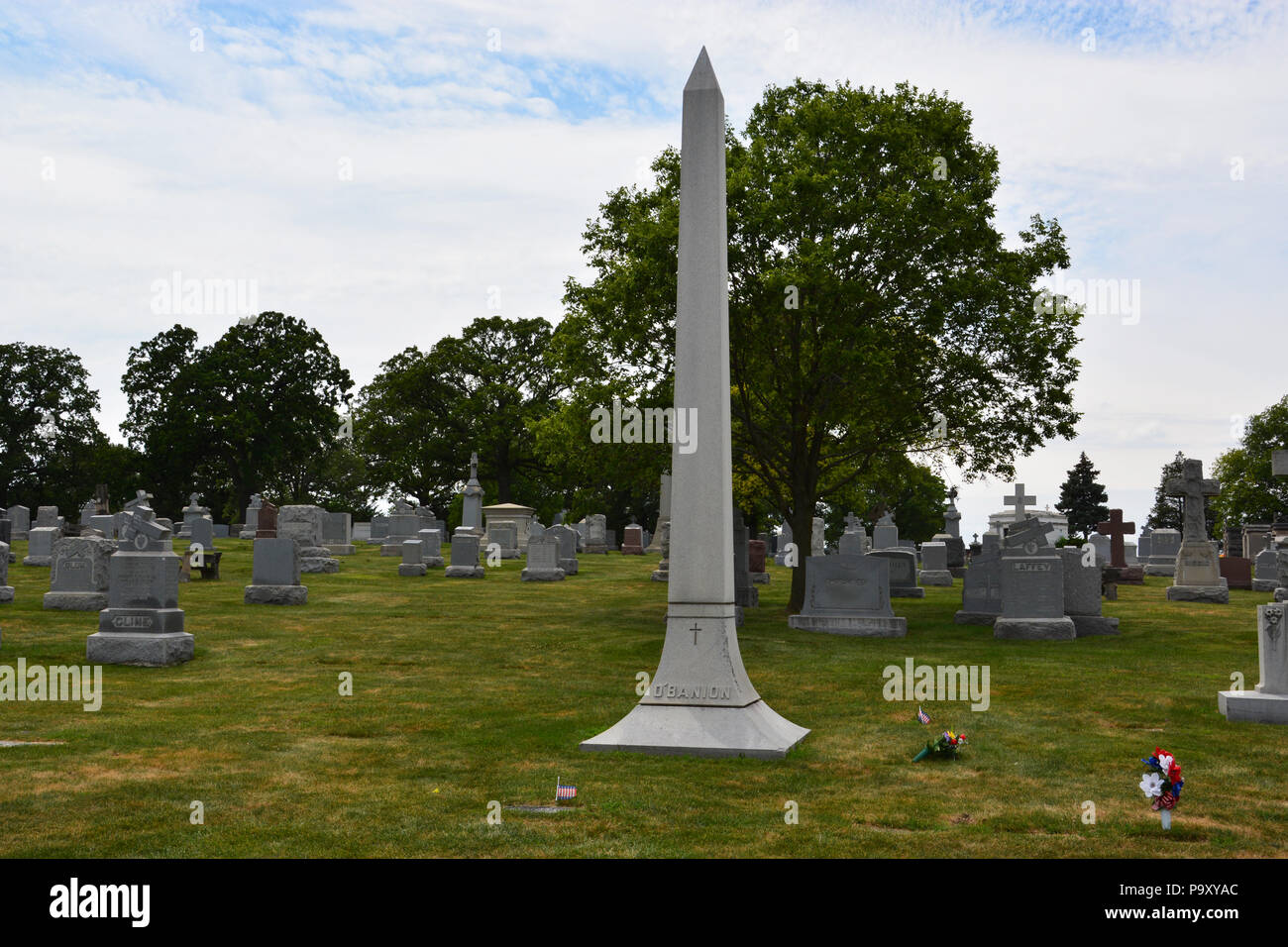 The O'Banion family marker at the Mount Carmel Cemetery in suburban Hillside, where Dean (Dion) O'Banion and members of his family are buried. Stock Photo