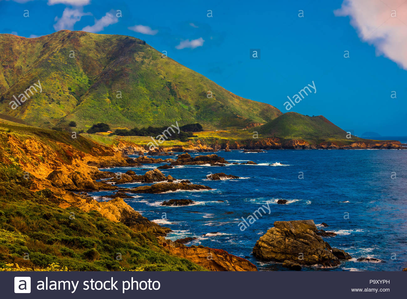View along Highway One on the Big Sur coast between Carmel Highlands and Big Sur, Monterey County, California USA. - Stock Image