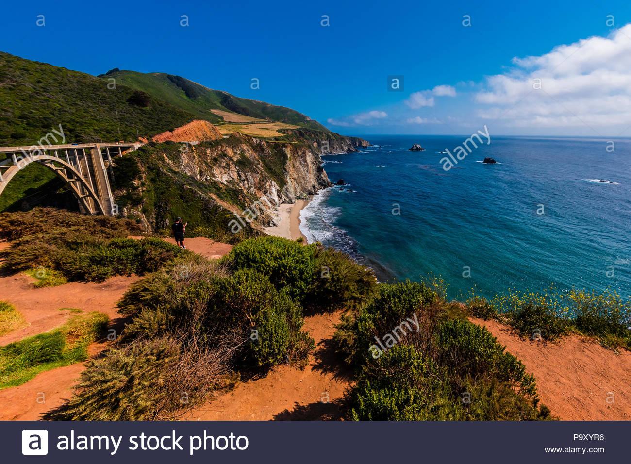 The Bixby Bridge along the Big Sur coast between Carmel Highlands and Big Sur, California USA. Stock Photo