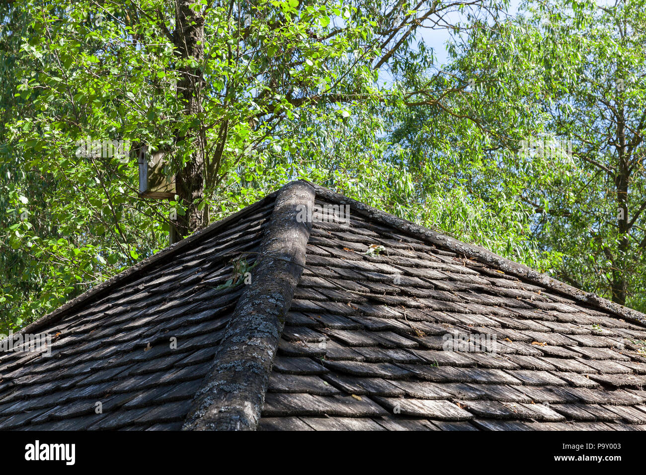 Old Wooden Roof Of The Building Made Of Boards And Planks Photo