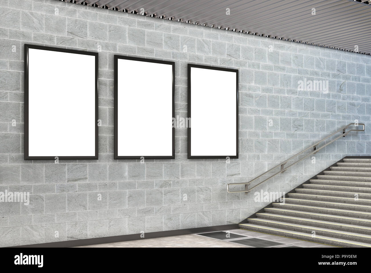 Three blank vertical billboard poster underground. 3d illustration - Stock Image