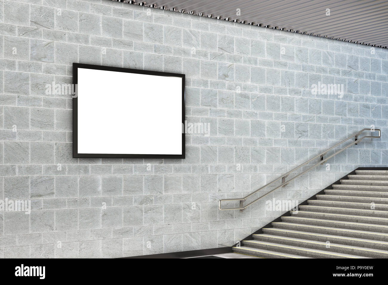 Blank horizontal advertising billboard poster underground. 3d illustration - Stock Image