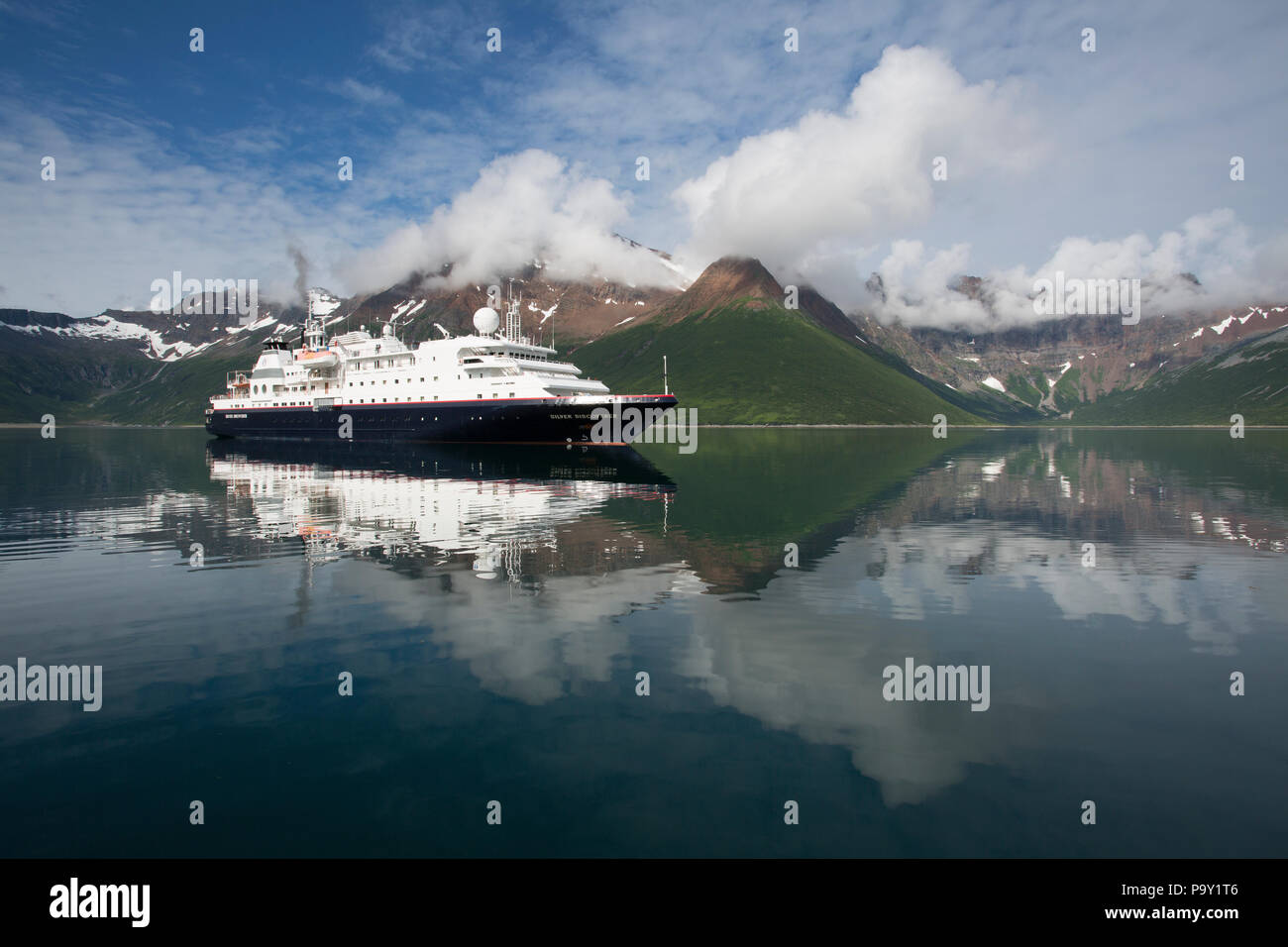 Silver Discoverer expedition ship in Castle Bay, Alaska - Stock Image