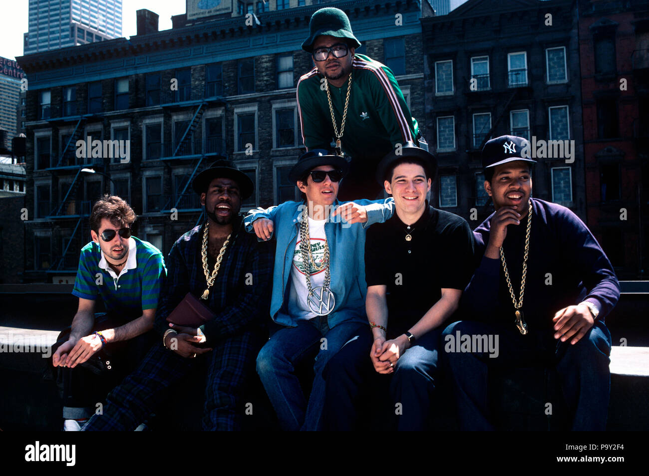 The Beastie Boys photographed with Run-DMC by Gary Gershoff in May of 1987. © Gary Gershoff  / MediaPunch - Stock Image